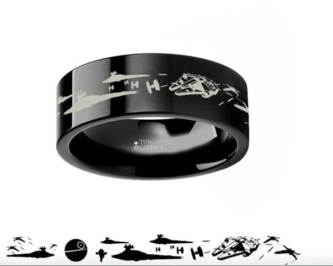 Star Wars Death Star Black Tungsten Ring Episode IV - 4mm - 8mm