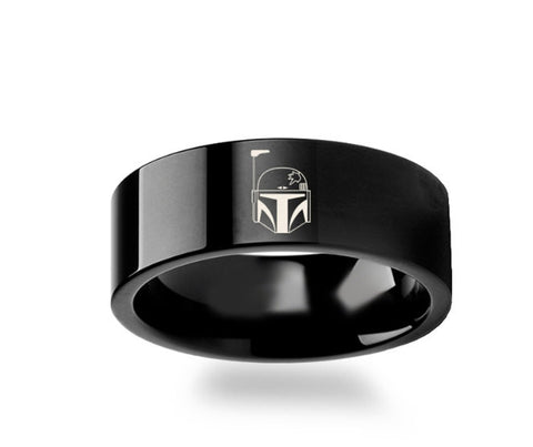 Boba Fett  Black Tungsten Engraved Ring Jewelry - 4mm -8mm