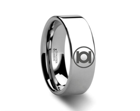 Green Lantern Symbol Polished Tungsten Engraved Ring - 4mm - 8mm