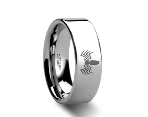 Venom Spider Polished Tungsten Engraved Ring  - 4mm - 8mm