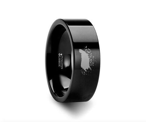 Batman Pose Dark Knight Symbol Black Tungsten Ring - 4mm - 8mm