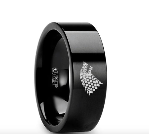 Game of Thrones Wolf Winter is Coming  Black Tungsten Engraved Ring - 4mm - 8mm