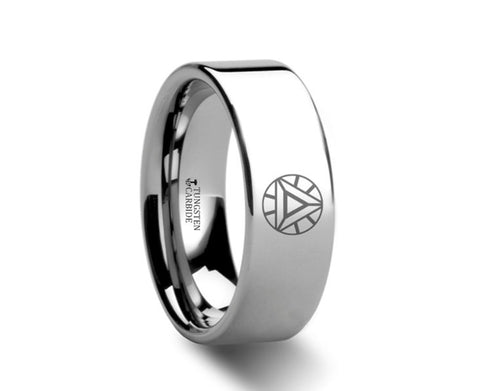 Iron Man Polished Tungsten Engraved Ring  - 4mm - 8mm