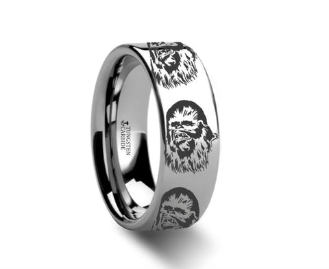 Chewbacca Star Wars Polished Tungsten Engraved Ring Jewelry - 4mm - 8mm