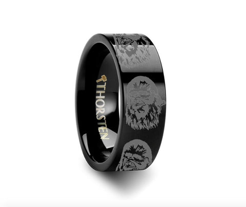 Chewbacca Star Wars Black Tungsten Engraved Ring Jewelry - 4mm - 8mm