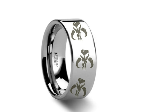 Mandalorian Symbol Polished Tungsten Engraved Ring  - 4mm - 8mm