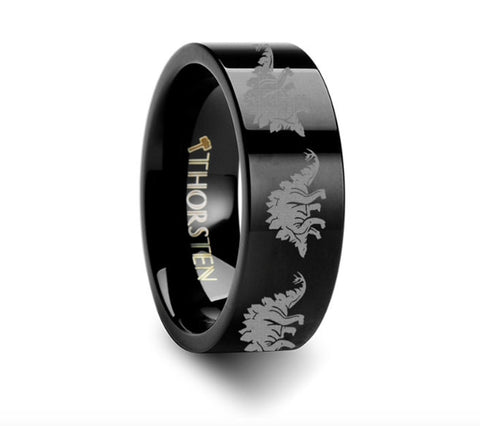 Dinosaur Rings Stegasaurus Ring  Engraved Flat Black Tungsten Ring - 4mm - 8mm