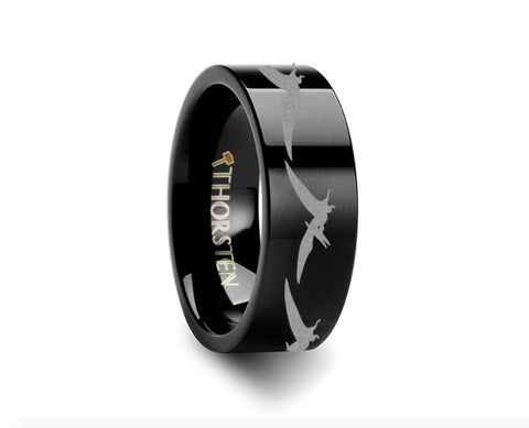 Dinosaur Ring Tetradactyl Engraved Flat Black Tungsten Ring - 4mm - 8mm