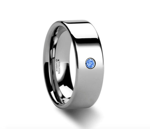 Flat Polished Tungsten Blue Diamond Ring