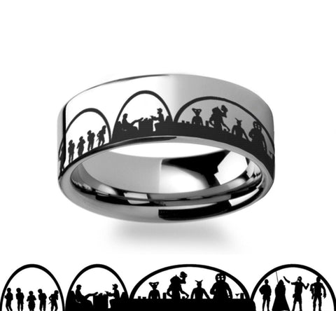 Mos Eisley Cantina  Star Wars  Polished Tungsten Engraved Ring