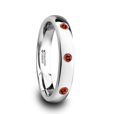 4mm Tungsten Carbide Wedding Band with natural Rubies