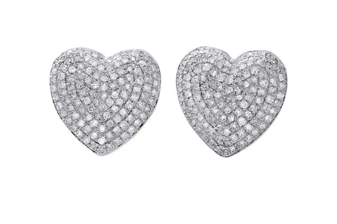 Pave' Diamond Heart Stud Earrings