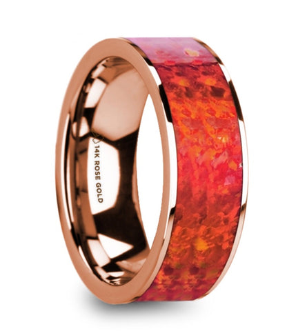 14k Rose Gold and Red Opal Band