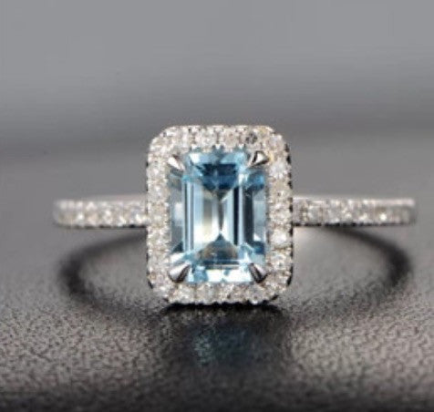 Emerald Cut Aquamarine and Micro Pave Diamond Ring in 14k