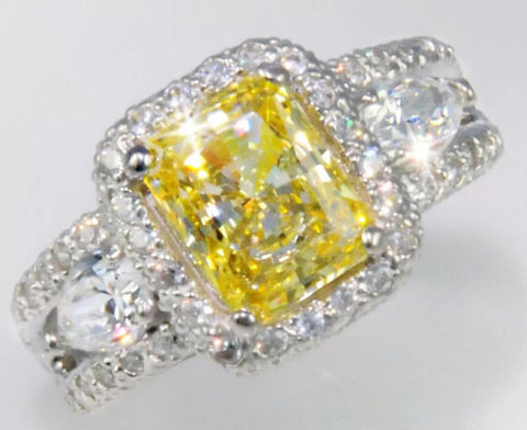Radiant Cut Lab Canary Diamond Engagement Ring