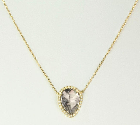 18k yellow gold diamond slice necklace