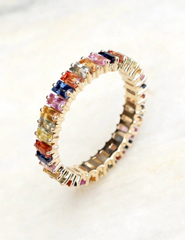 Multicolored Sapphire Baguette Ring in Plated Sterling