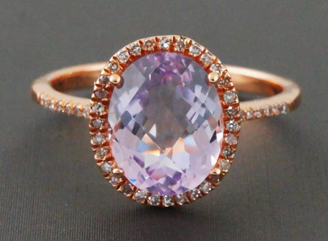 2.63 ct Oval  Pink Amethyst Halo Ring. 14k rose gold
