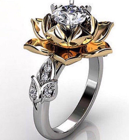 328 Ct Lotus Flower Engagement Right Hand Ring On The Rocks 70
