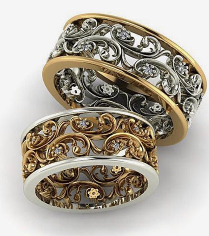 18k two tone gold filigree floral bands