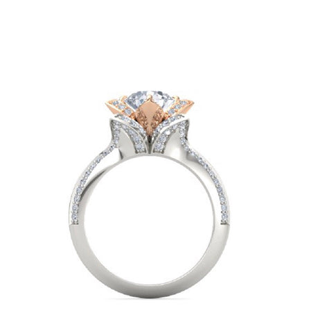 Two Tone Lotus Flower Engagement Ring On The Rocks 70