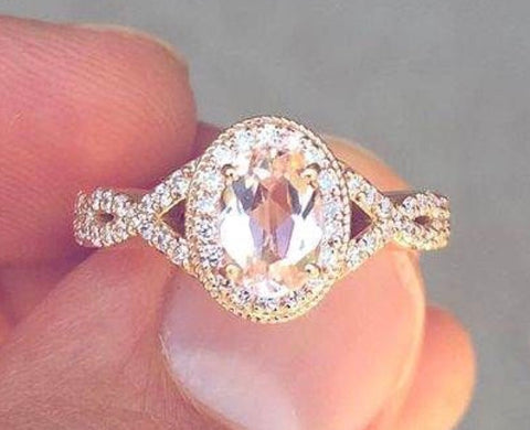 Morganite and Diamond Twist Band Engagement Ring