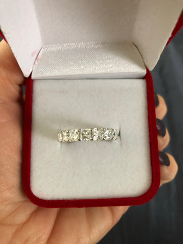 14k princess cut eternity band