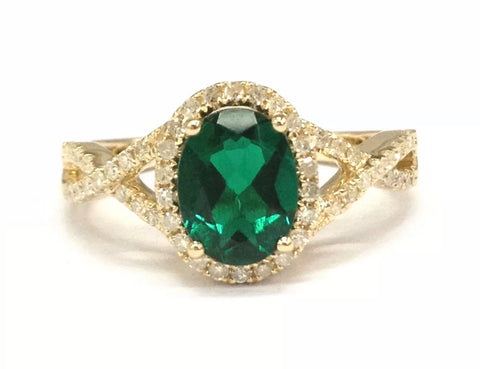 Emerald Halo Infinity Engagement Ring
