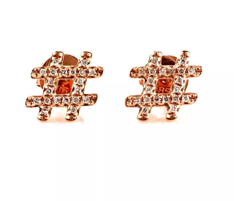 14k rose gold Hashtag stud earrings