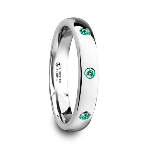 4mm Tungsten Carbide Wedding Band with natural Emeralds