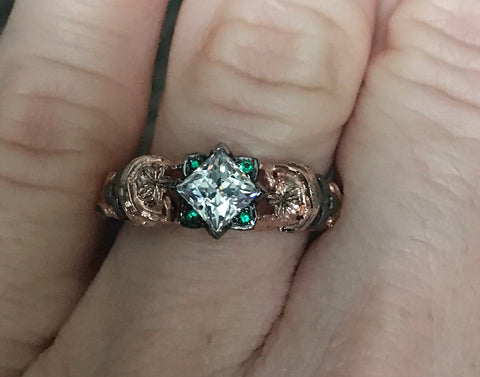 Filigree Skull Engagement Ring