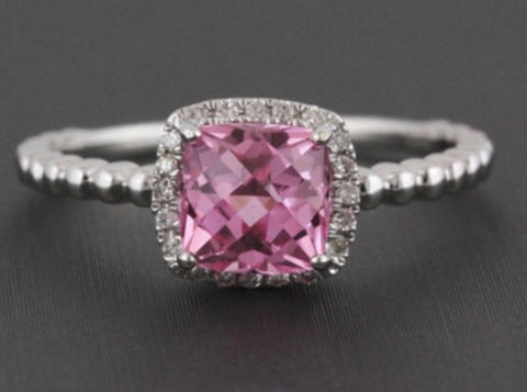 Natural 1.67ct Cushion Cut Pink Topaz Diamond Halo Ring