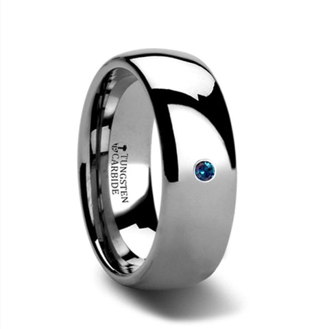 8mm Tungsten Carbide Wedding Band with Alexandrite