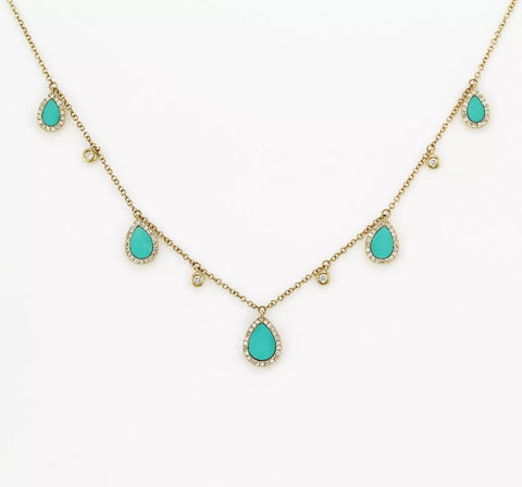 1.45ct Micro Pavé Round Diamonds in 14K Gold Turquoise Inlay Tear Drops By The Yard Necklace