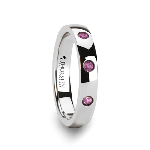 4mm Tungsten Carbide Wedding Band with natural Pink Sapphires