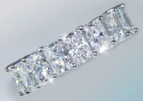 Stunning 9.5ct Radiant Cut Moissanite Eternity Band