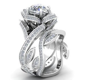 Rhodium Plated Sterling Rose Wedding Set