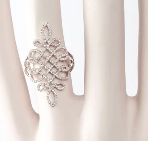 14k gold pave' diamond filigree scroll cocktail ring