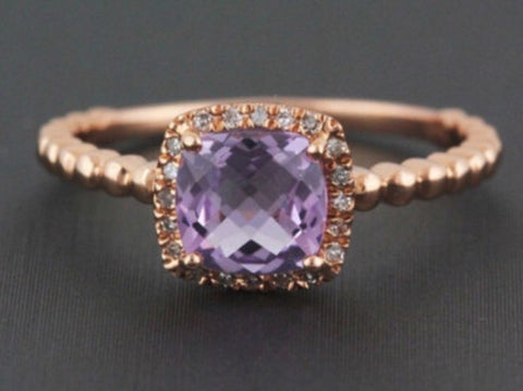 Natural 0.90ct Cushion Cut Pink Amethyst and Diamond Halo Ring