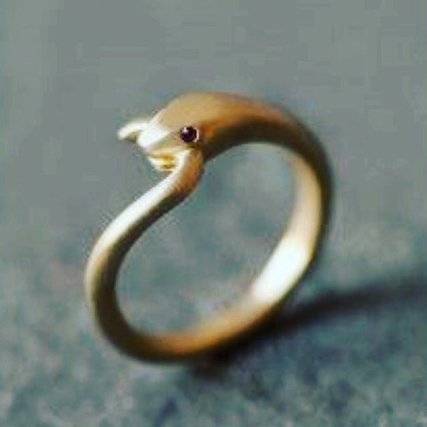 18k Satin Finish Snake Ring