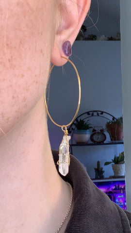 14k Gold Hoop Earrings with Quartz Crystal Charm
