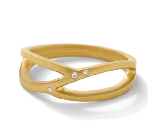 14k gold and diamond modern open band ring
