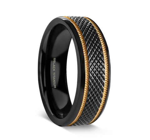 BAROQUE Black Titanium Diamond Pattern Brushed Finish Men's Wedding Ring with Gold Milgrain Grooves – 8mm