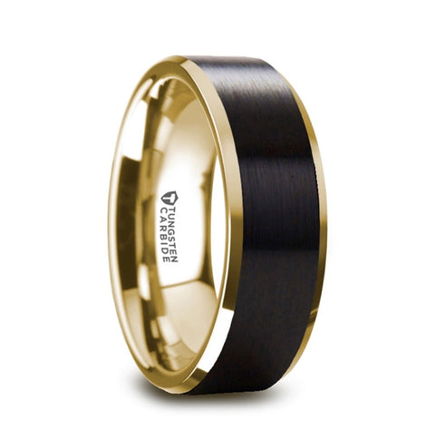 Gold plated brushed black Tungsten