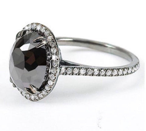 3.21ct Rose Cut Black Moissanite Ring