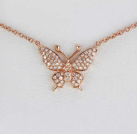14k pave' Butterfly Necklace