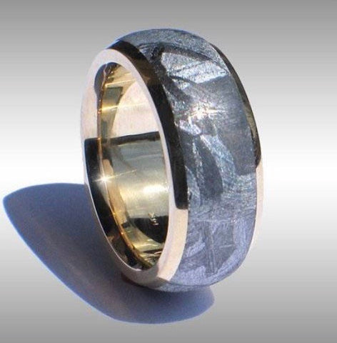 14k gold and meteorite wedding band