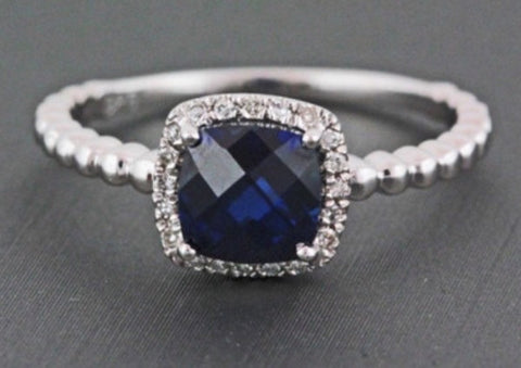 Natural 1.01ct Cushion Cut Deep Blue Sapphire Halo Ring
