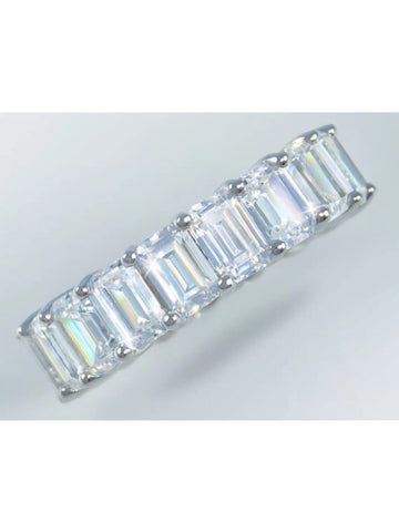 8ct Emerald Cut Moissanite Eternity Band