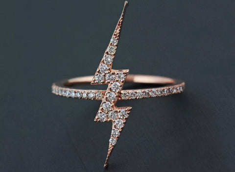 14k rose gold lightening bolt ring